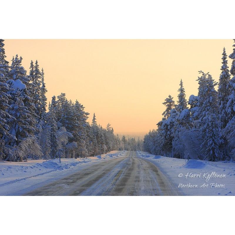 Talvinen tie - Canvas-taulu