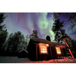 Northern light hut - Canvas print