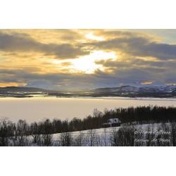 Mökki järvellä - Canvas-taulu