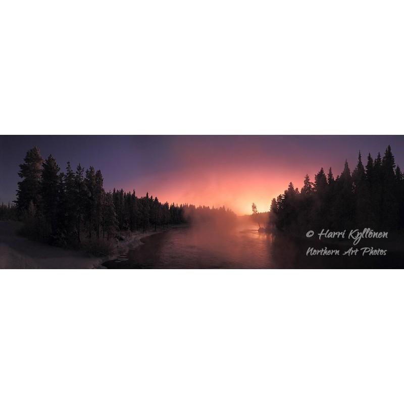 Kiveskoski ja talvinen auringonlasku - Tapetti