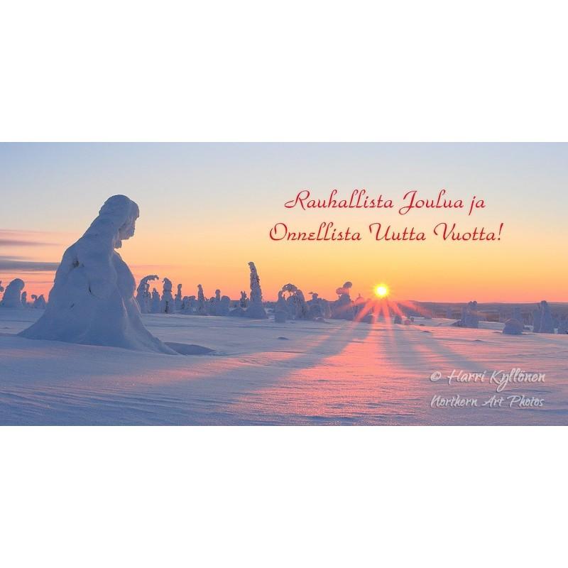 Auringonlaskua ihailemassa - 10x20cm joulukortti