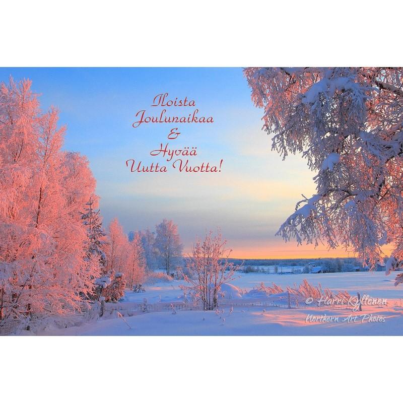 Talviaamun värit - 10x15cm joulukortti