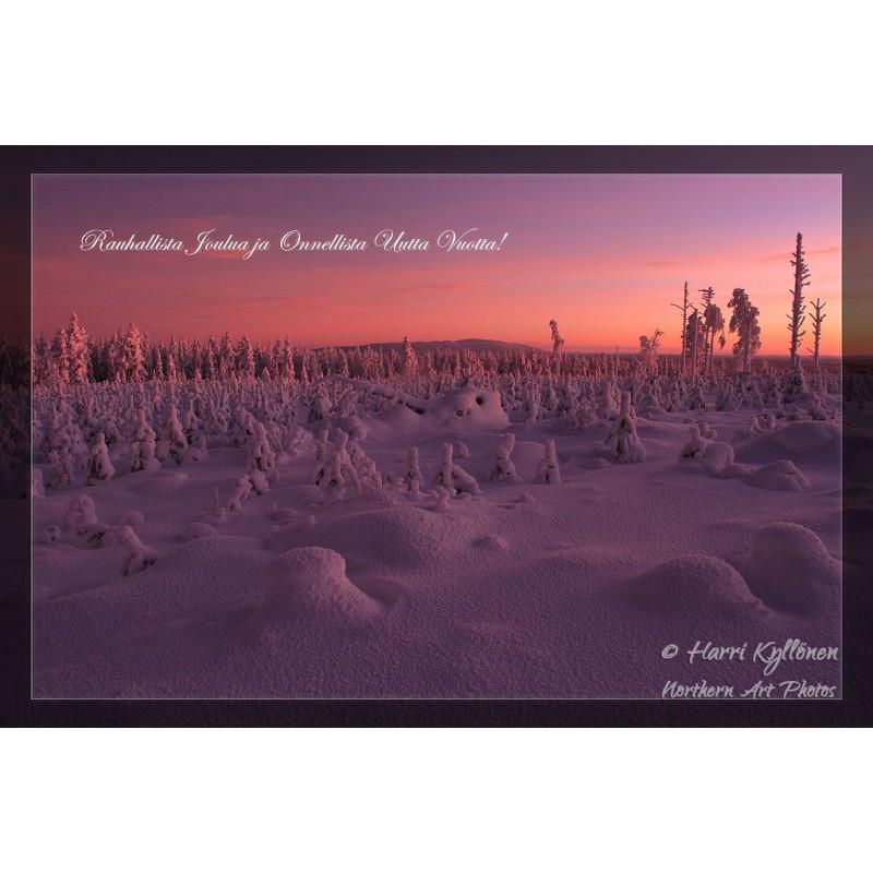 Marjovaara kaamosvalossa II - 10x15cm joulukortti